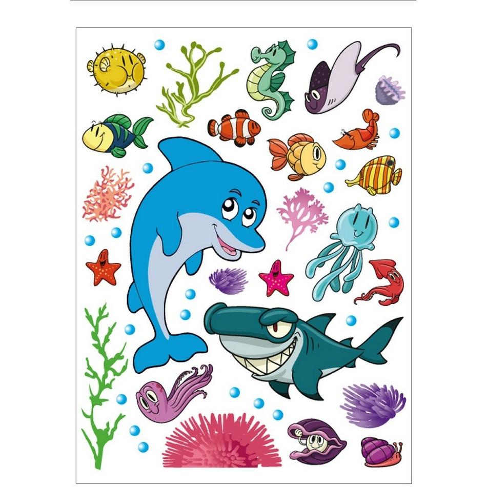 AG Art Samolepicí dekorace Mořský život, 42,5 x 65 cm