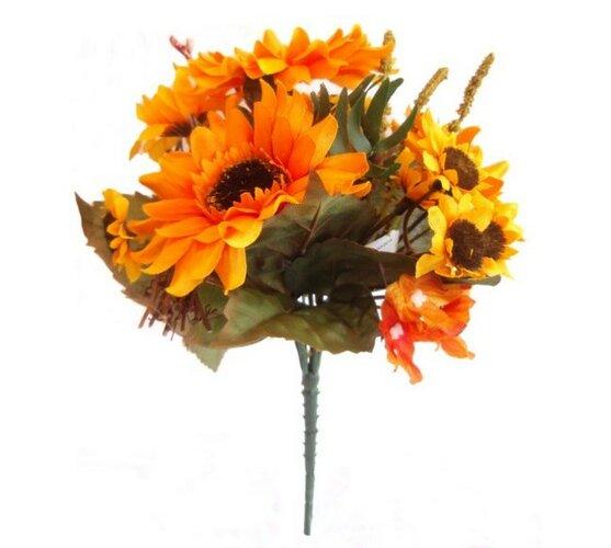 Umělé květiny slunečnice s hortenzií žluto-oranžová