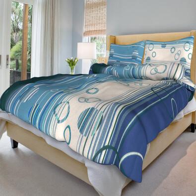 Bavlněné povlečení Eva modrá, 140 x 220 cm, 70 x 90 cm