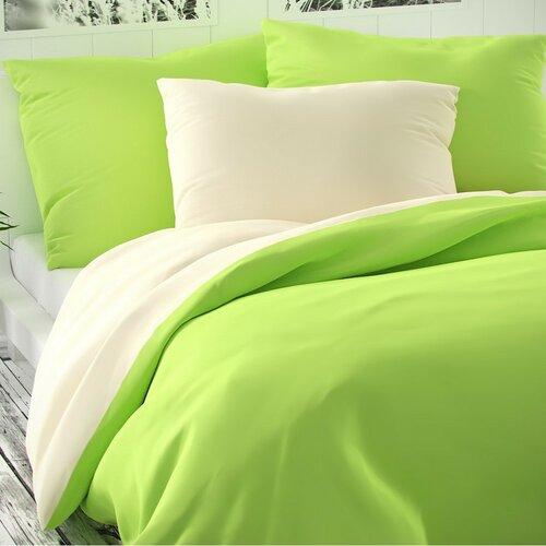 Lenjerie pat 2 pers. Luxury Collection, satin, verde des./crem, 220 x 200 cm, 2 buc. 70 x 90 cm