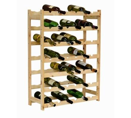 Regál na víno, 42 lahví, přírodní, 102 x 62,6 x 25 cm