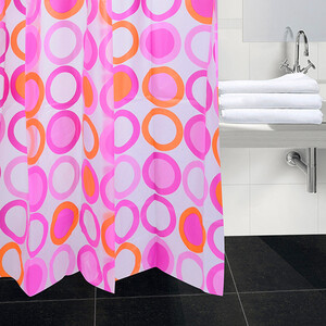 Koopman Sprchový závěs Kruhy růžová, 180 x 180 cm