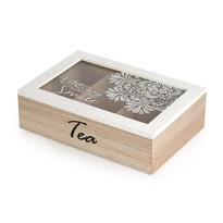 Cutie plicuri ceai Altom din lemn cu capac de sticlă, 24 x 16 x 7 cm
