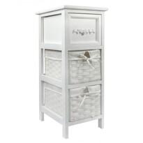 Komoda 3 szuflady Vintage biały 26 x 32 x 63 cm