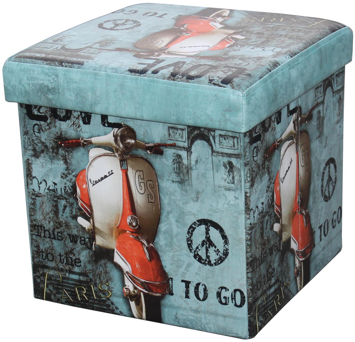 Skládací sedací box s potiskem motorka,