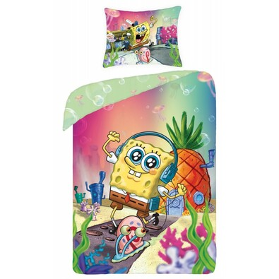 Dětské bavlněné povlečení Sponge Bob, 140 x 200 cm, 70 x 90 cm