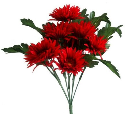 Umělá kytice gerbera, červená, červená