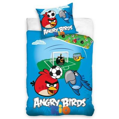 Dětské bavlněné povlečení Angry Birds Rio Fotbal, 140 x 200 cm, 70 x 80 cm