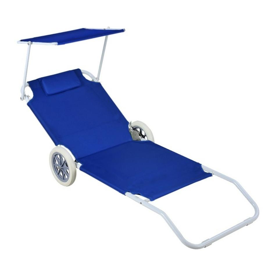 Aldo Plážový vozík - lehátko se stříškou, modrá