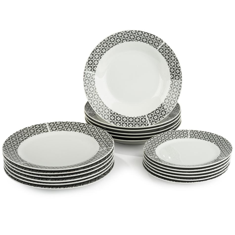 18dílná sada talířů Symetria, porcelán, šedá