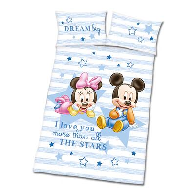 Povlečení do dětské postýlky Mickey a Minnie modrá, 135 x 100 cm, 40 x 60 cm