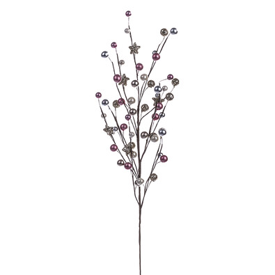 Větev vánoční, barva stříbrno-růžová