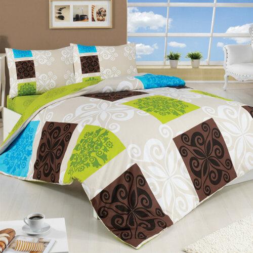 Bavlnené obliečky Sedef zelená, 220 x 200 cm, 2 ks 70 x 90 cm