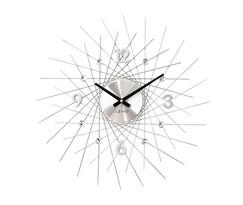 Zegar ścienny Lavvu Crystal Lines srebrny, śr. 49 cm