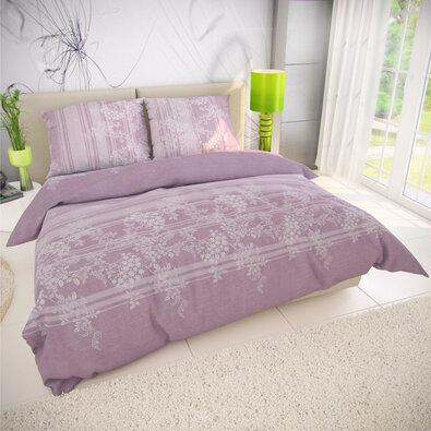 Kvalitex Bavlněné povlečení Bova fialová, 140 x 200 cm, 70 x 90 cm