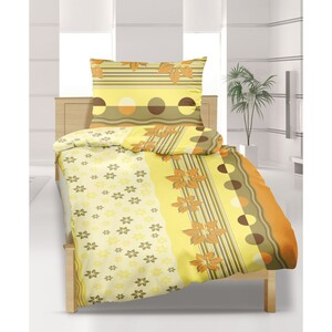 Flanelové povlečení Kvítek žlutý, 140 x 200 cm, 70 x 90 cm
