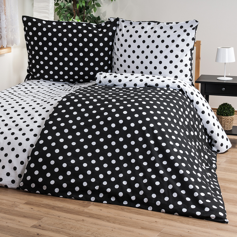 4Home Bavlnené obliečky Čierna bodka, 140 x 220 cm, 70 x 90 cm