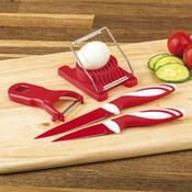 Kuchyňský set 2 nože, kráječ na vajíčka a škrabka