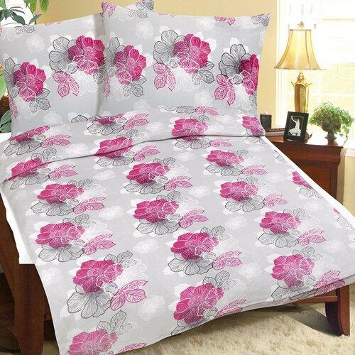 Szürkésrózsaszín virág mikroflanel ágynemű, 140 x 200, 70 x 90 cm, 140 x 200 cm, 70 x 90 cm