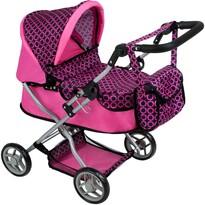 PlayTo Wózek głęboki dla lalek Viola, różowo-czarny