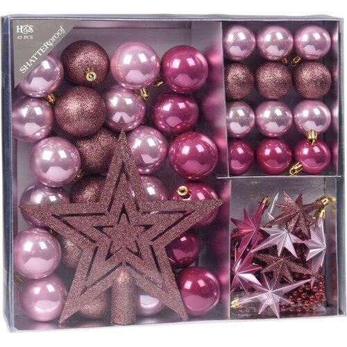 Sada vianočných ozdôb Christine 45 ks, tm. ružová