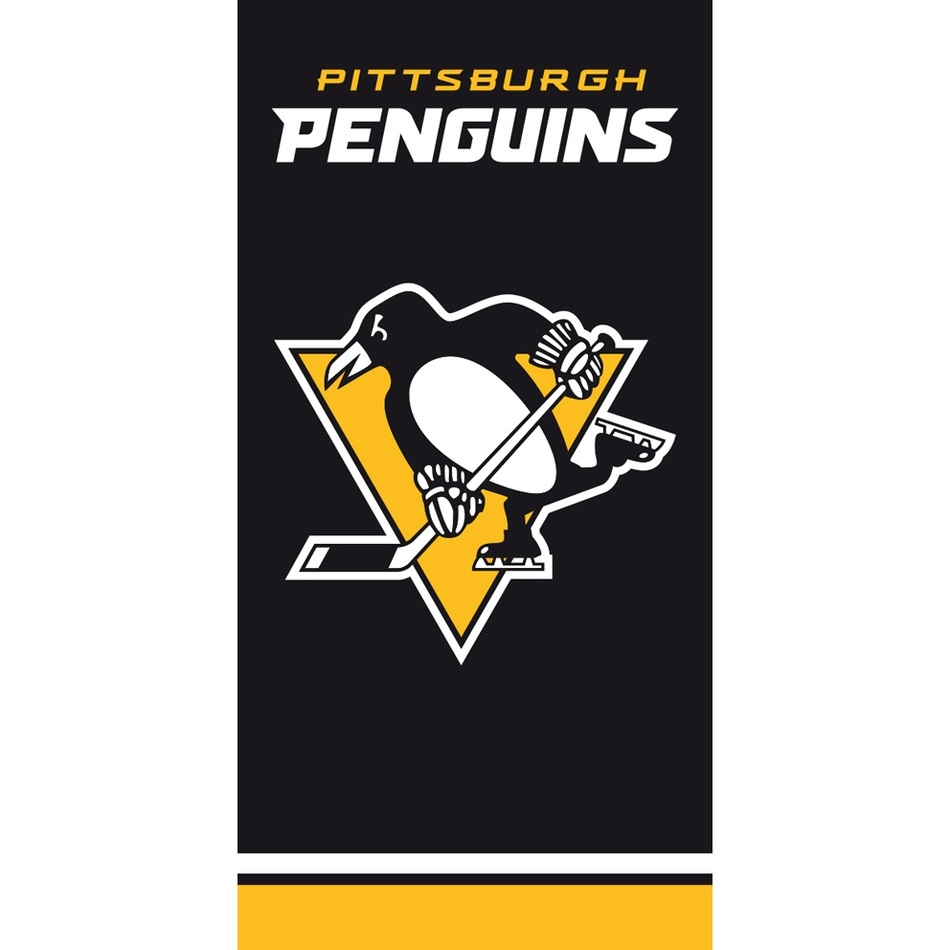 TipTrade Osuška NHL Pittsburgh Penguins Black, 70 x 140 cm
