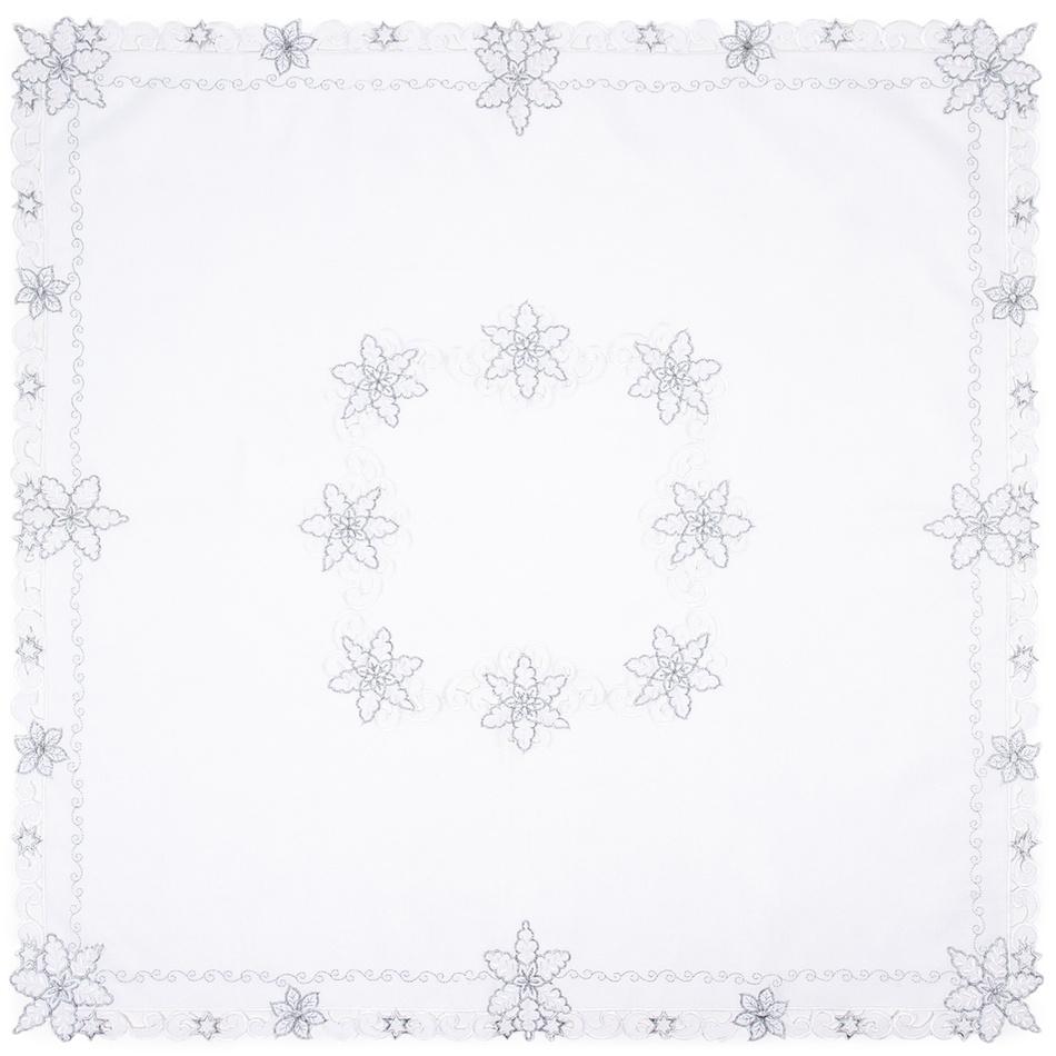 Forbyt Vánoční ubrus Vločky smetanová, 85 x 85 cm