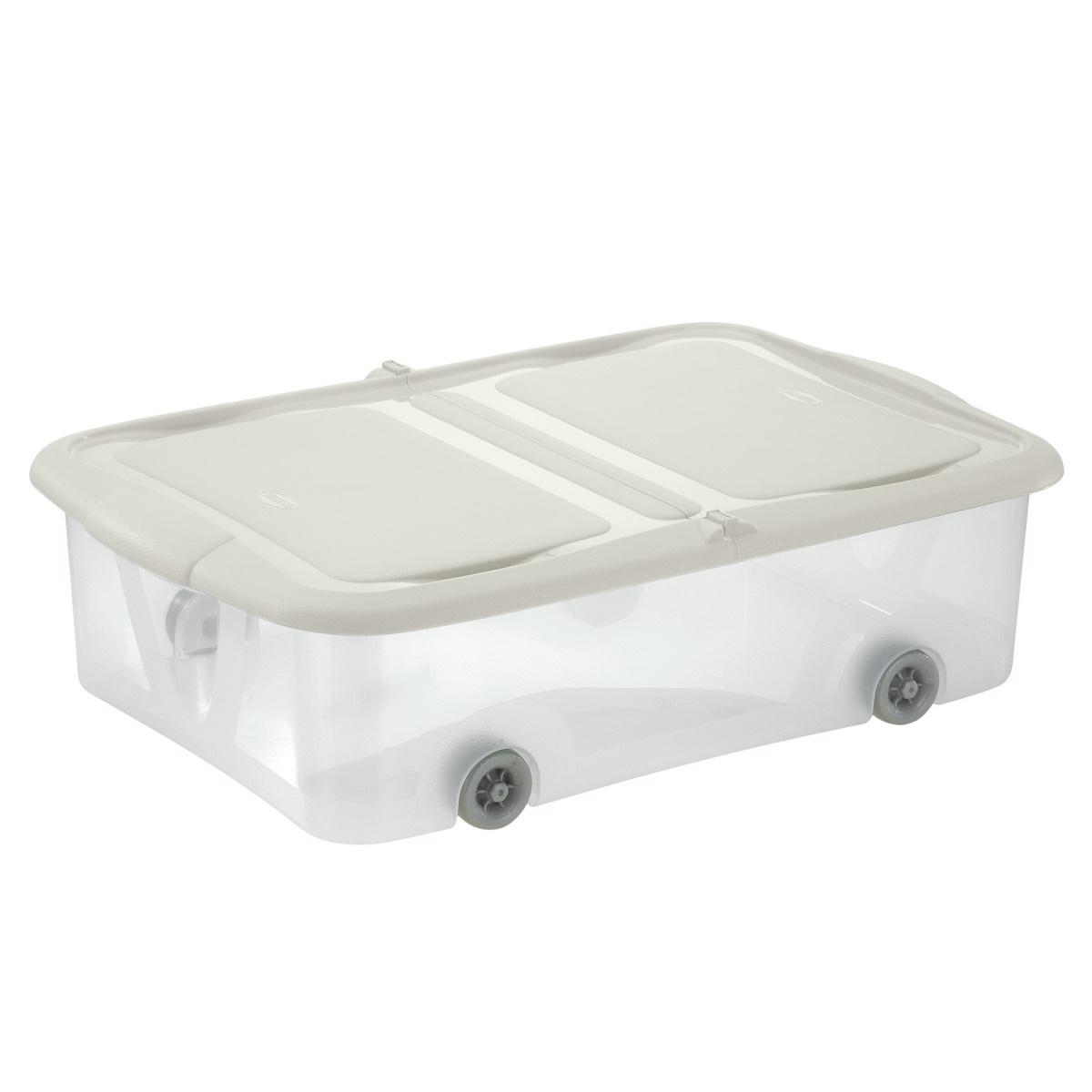 Tontarelli STOCK Box 25L s víkem transparent/krémová;58.7X39.5XH16.8CM, kolečka