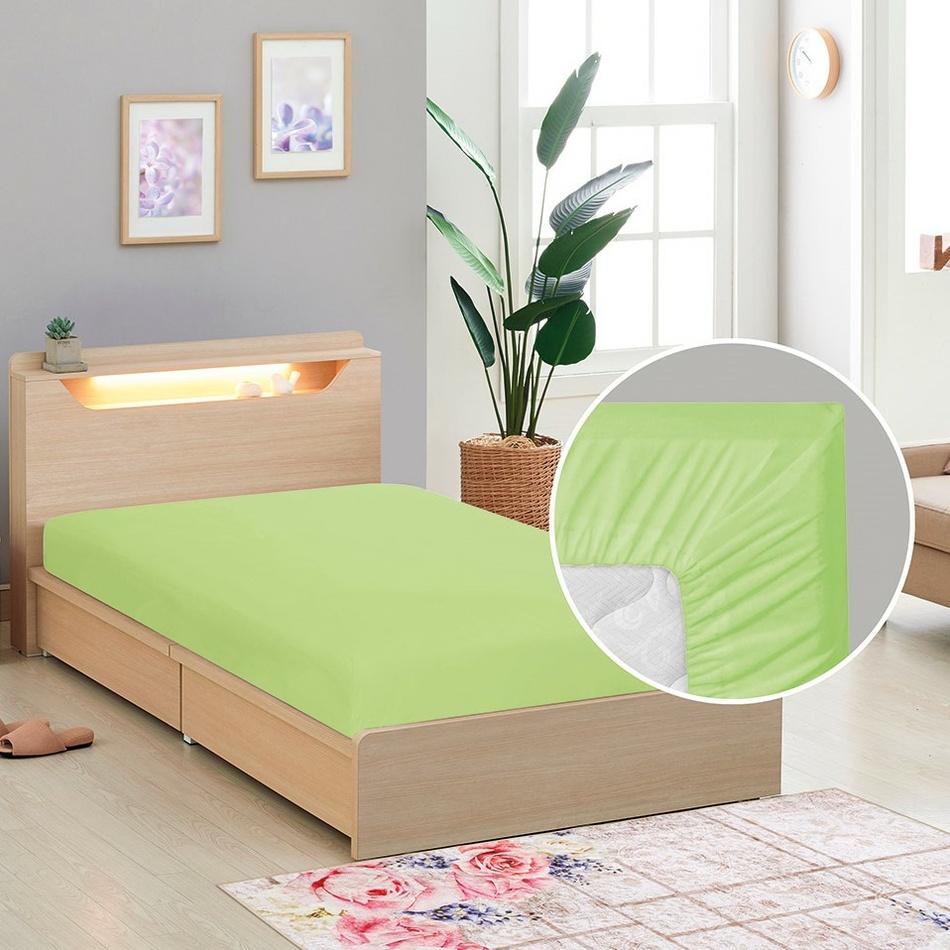 Cearceaf de pânză cu elastic, verde, 90 x 200 cm imagine 2021 e4home.ro