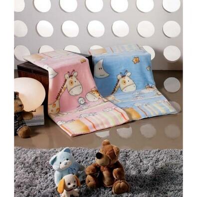 Španělská deka Baby Bed - Žirafa, modrá, 110 x 140 cm