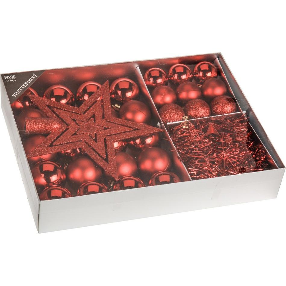 Sada vánočních ozdob Luxury červená, 33 ks
