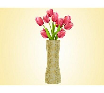 Váza skládací zlatá, zlatá, 19 x 28 cm