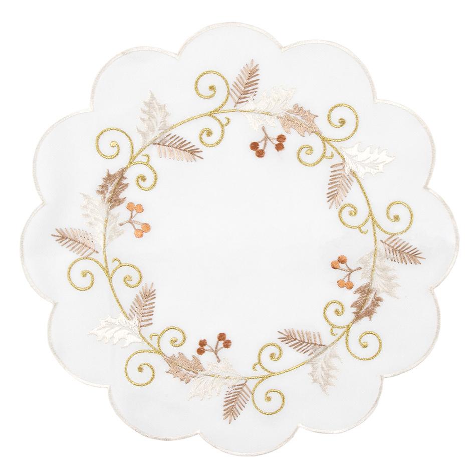 Forbyt Vánoční ubrus Cesmína bílá, pr. 35, pr. 35 cm