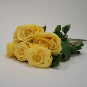 Umělá květina růže žlutá sada 6 ks