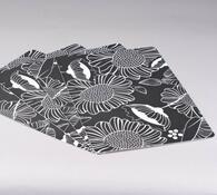 Prostírání Květiny, sada 4 ks, bílá + černá, 44 x 28 cm