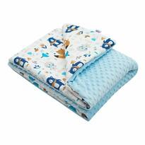 New Baby Fotelik dziecięcy z Minky Misie niebieski, 80 x 102 cm