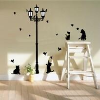 Fekete cicák a lámpa alatt öntapadó dekoráció
