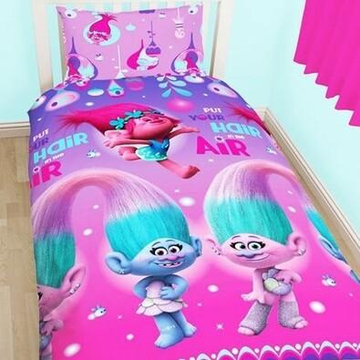 Detské bavlnené obliečky Trolls pink, 135 x 200 cm, 50 x 70 cm