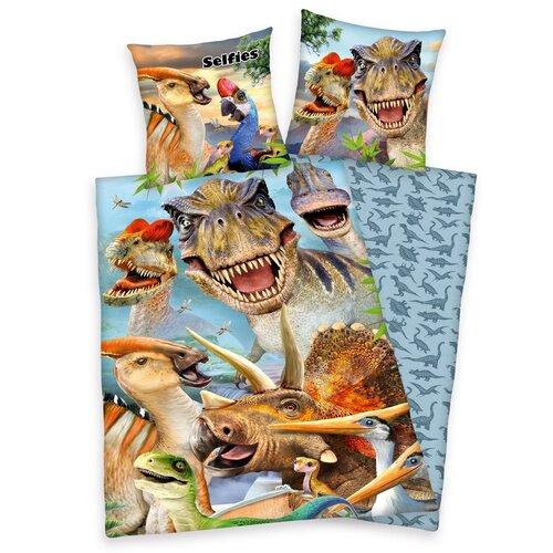 Detské bavlnené obliečky Dinosaury, 140 x 200 cm, 70 x 90 cm
