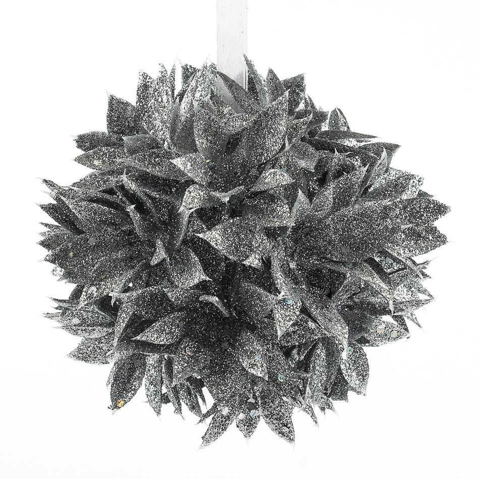 Poinsettia guľa strieborná 12 cm, HTH