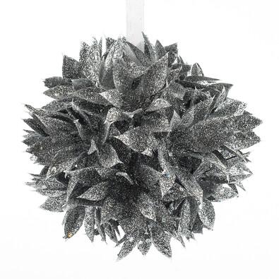 Poinsettia koule stříbrná 12 cm