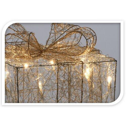 Vianočná drôtená dekorácia Gift strieborná, 15 LED