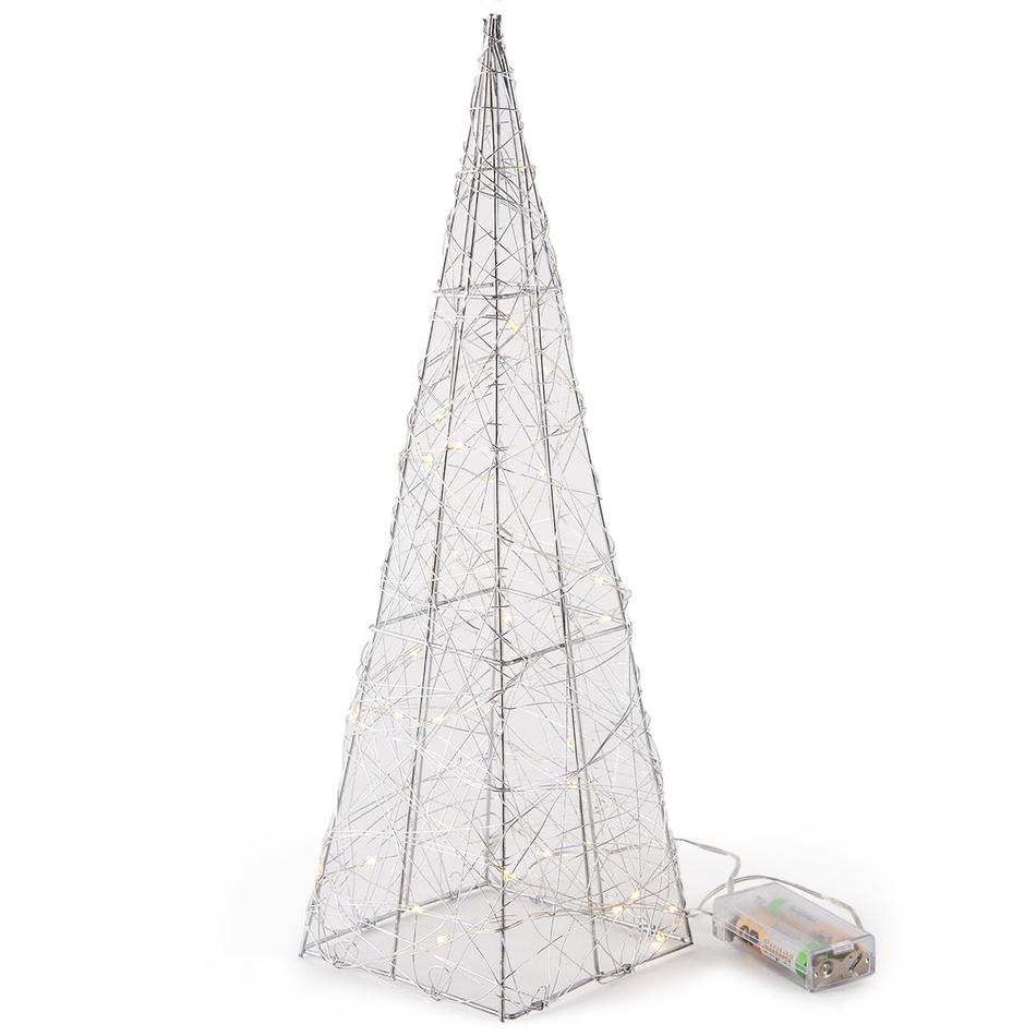 Vánoční drátěný jehlan Ostia stříbrná, 30 LED