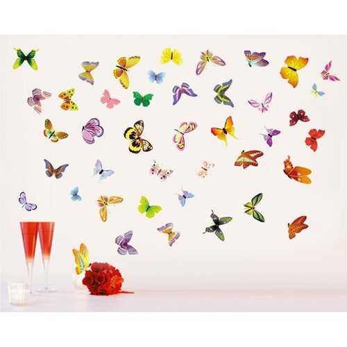 Samolepicí dekorace Slet na palouku - motýli
