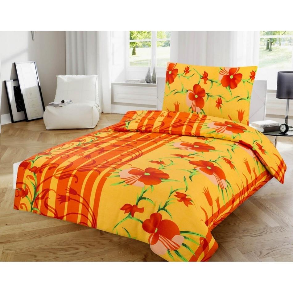 Jahu Bavlnené obliečky Kvetiny oranžová 140 x 200 cm 70 x 90 cm