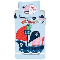Lenjerie de pat Jerry Fabrics Peppa Pig 031, de copii, din bumbac, 140 x 200 cm, 70 x 90 cm