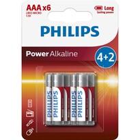 Philips LR03P6BP/10 sada alkalických baterií AAA, 4 + 2 ks