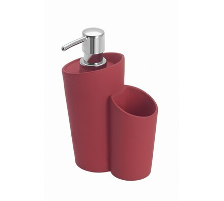 Dávkovač saponátu s prostorem pro houbičku červený