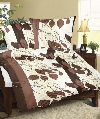 Bellatex Krepové obliečky Listy hnedá, 140 x 200 cm, 70 x 90 cm