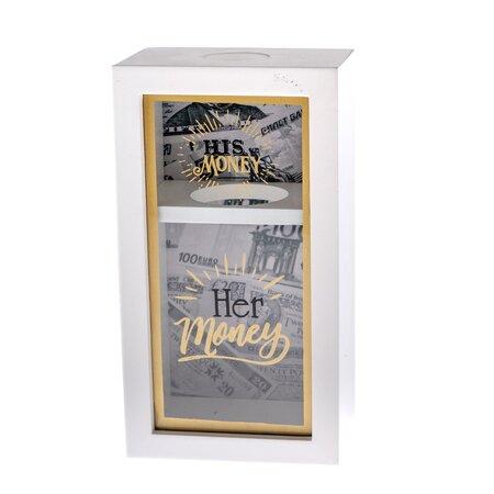 Dřevěná kasička His and Her, 12 x 22 cm